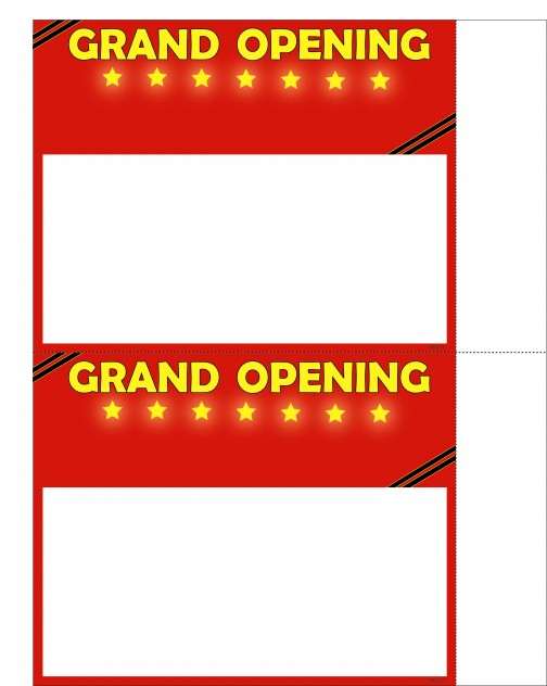 915218 Grand Opening Poster Price Cards